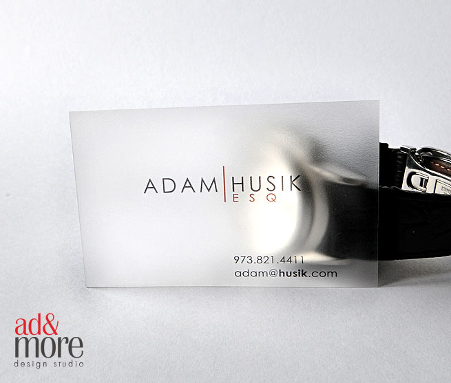 Ad and more design studio frosted plastic business cards leave an infinite impression on your customers tired of your prospective clients throwing away your business cards reheart Image collections